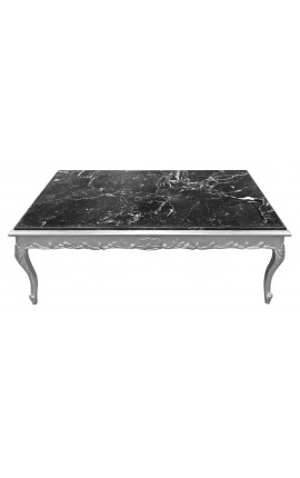 Large coffee table Baroque style silvered wood and black marble