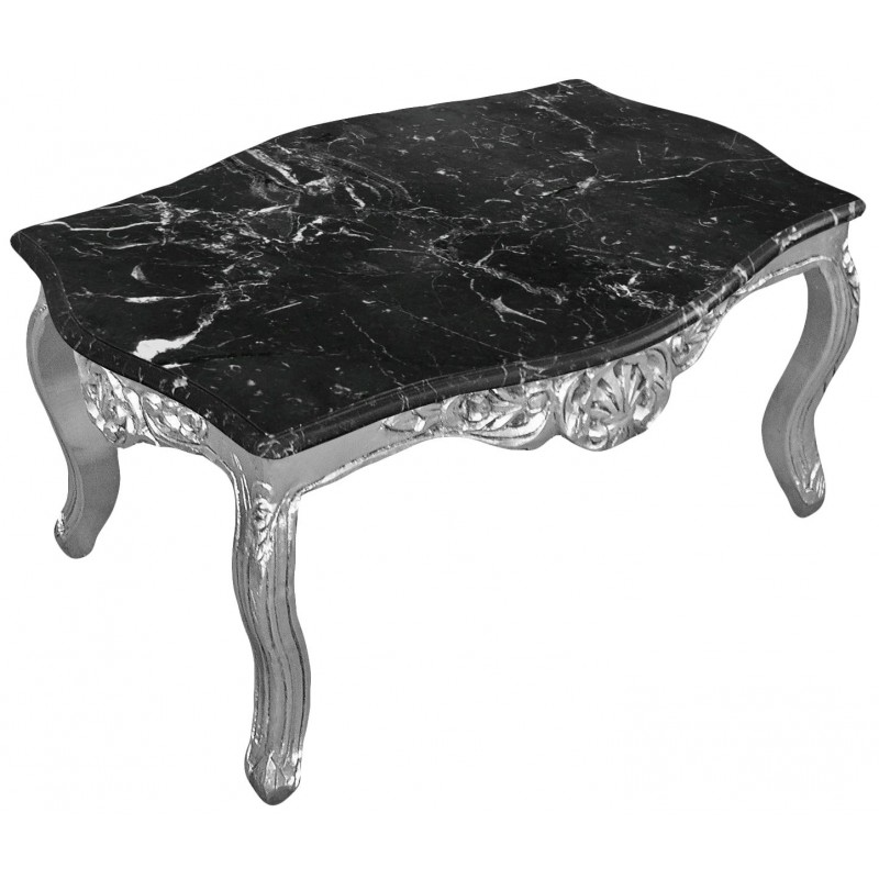 Coffee Table Baroque Style Silvered Wood With Black Marble Top