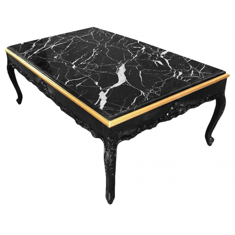 Large coffee table baroque style black shine wood and black marble Black wooden coffee tables