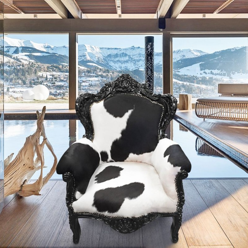 big baroque style armchair real cow hide black white and. Black Bedroom Furniture Sets. Home Design Ideas