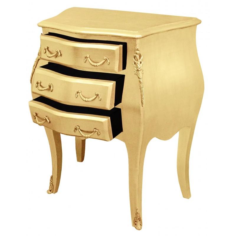 Table de nuit chevet commode baroque en bois dor avec 3 tiroirs - Table de nuit baroque ...
