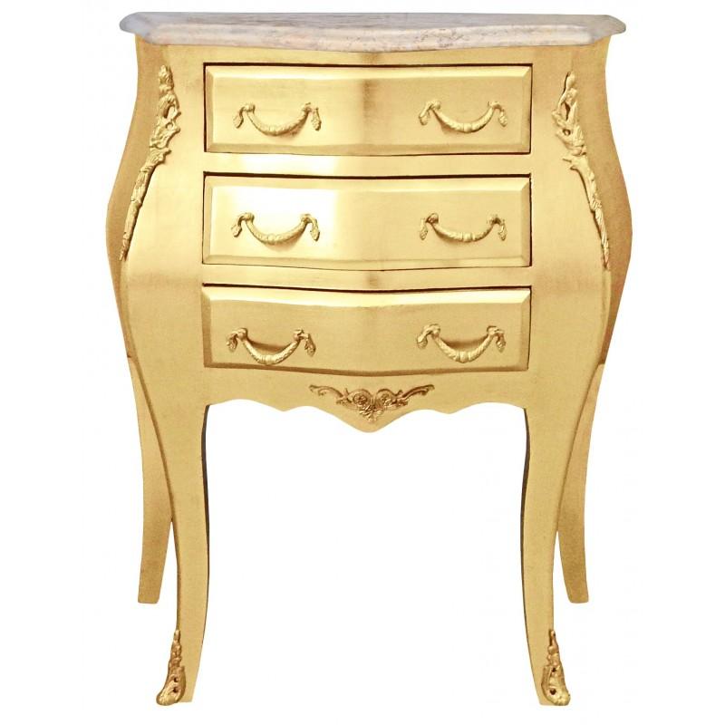 table de nuit chevet commode baroque en bois dor plateau marbre beige. Black Bedroom Furniture Sets. Home Design Ideas