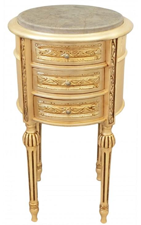 Table de nuit chevet tambour en bois dor avec 3 tiroirs et marbre beige - Table de chevet en fer forge ...