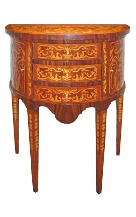 Bedside commode with marquetry 3 drawers and 2 doors