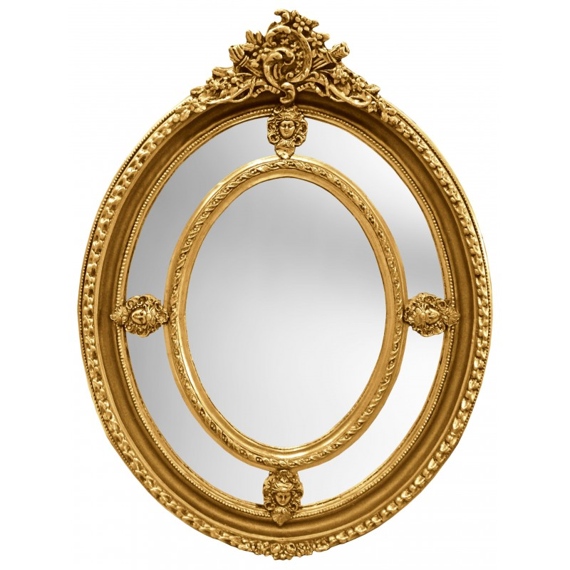 Grand baroque gilt oval mirror louis xvi style brothels parks for Baroque oval wall mirror