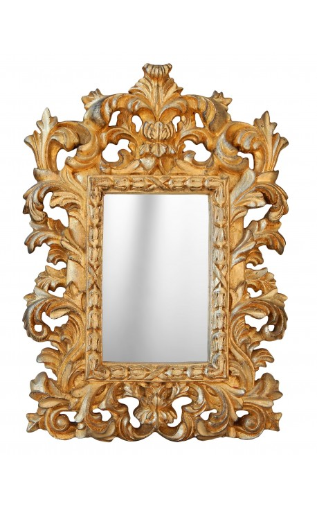 Mirror baroque gilded venetian style for table or suspend for Miroir style baroque