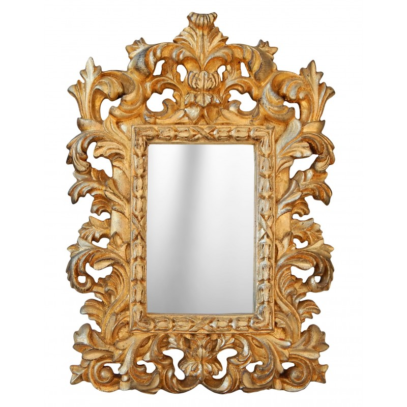 Mirror baroque gilded venetian style for table or suspend for Gilded baroque mirror
