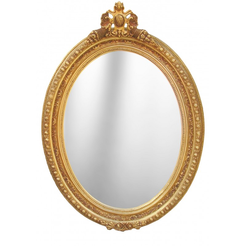 large mirror oval baroque style of louis xvi