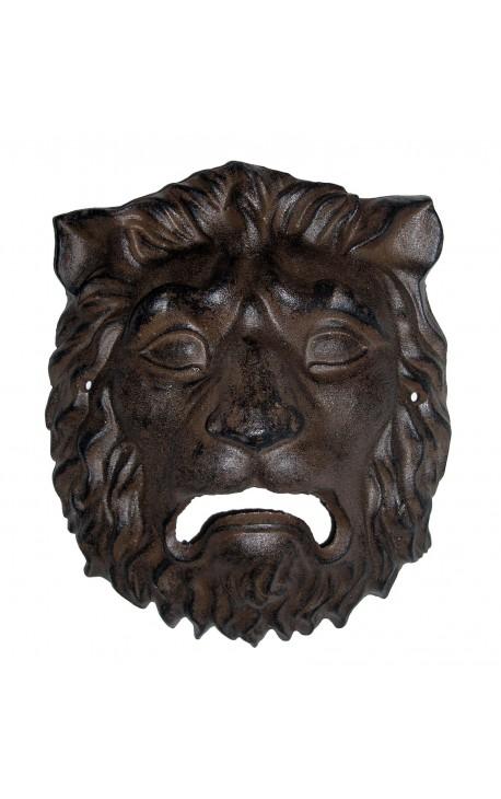plaque d corative murale en fonte de fer masque t te de lion. Black Bedroom Furniture Sets. Home Design Ideas