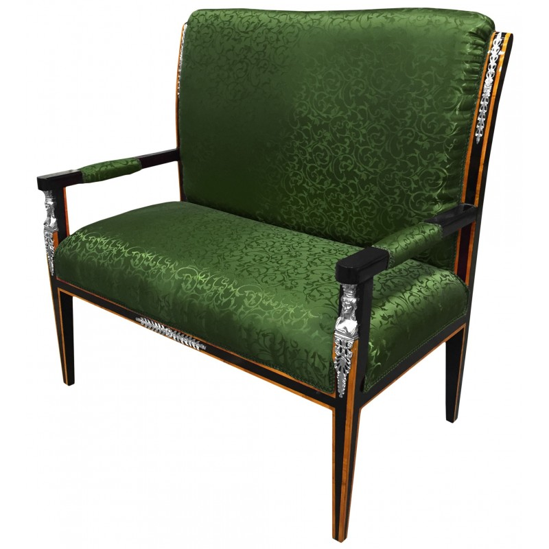 Empire Style Sofa Green Satin Fabric And Black Lacquered