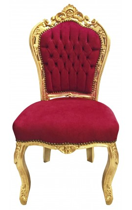 Baroque rococo style chair burgundy and gold wood