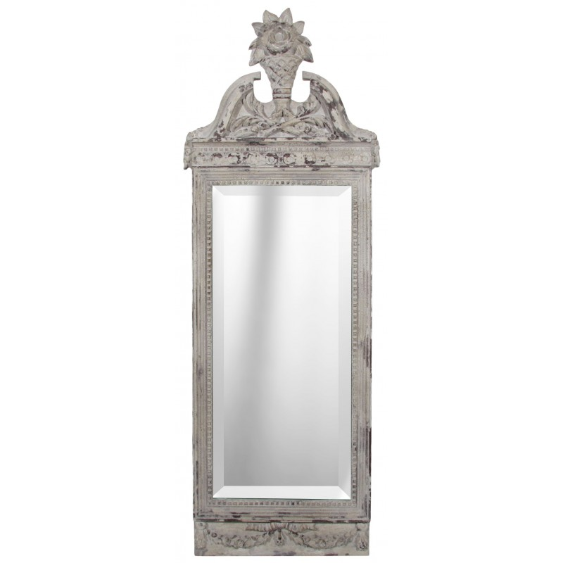 Miroir bois blanc for Miroirs rectangulaires bois