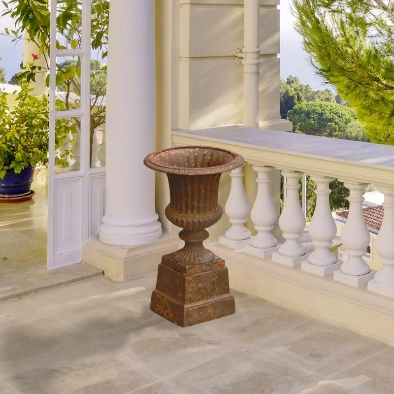 Vase medicis effet rouill patin en fonte de fer sur socle - Effet rouille sur bois ...