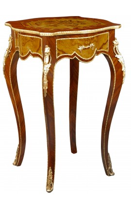 Square table in Louis XV style inlaid wood, bronze and painted music decorations.