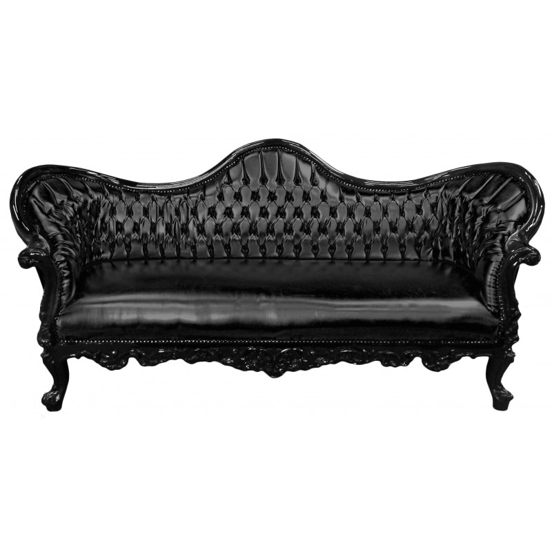 canap baroque napol on iii tissu simili cuir noir et bois laqu noir. Black Bedroom Furniture Sets. Home Design Ideas