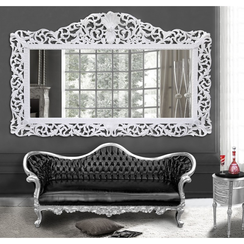 Enorme miroir de style baroque en bois laqu blanc for Miroir style baroque