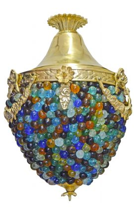 Chandelier balls blue glass and white with bronzes