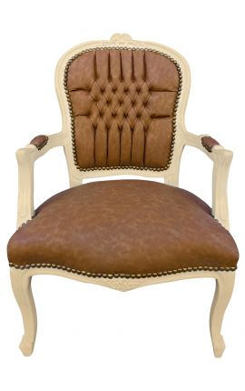 [Limited Edition] Louis XV style armchair caramel and beige