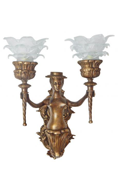 applique murale en bronze avec femme avec un chapeau de style louis xv. Black Bedroom Furniture Sets. Home Design Ideas