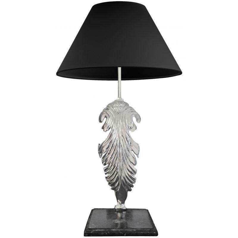 lampe poser en bronze argent avec base en marbre noir. Black Bedroom Furniture Sets. Home Design Ideas