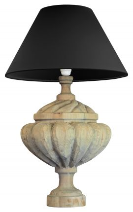 Wooden baluster table lamp with gadroon