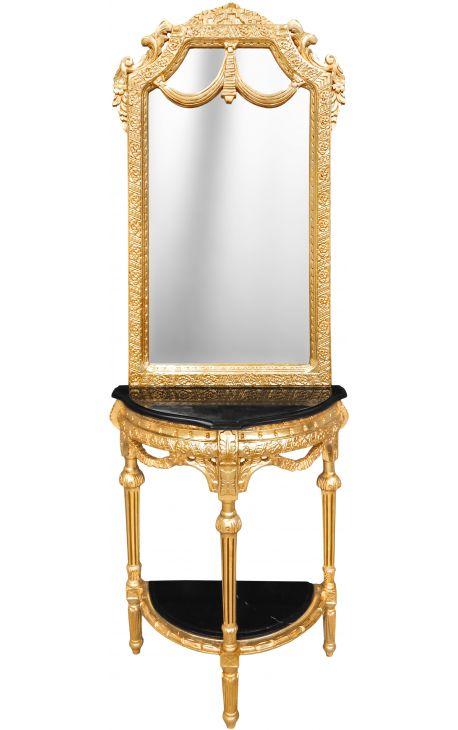 Console demi lune avec miroir style baroque bois dor et for Miroir noir baroque