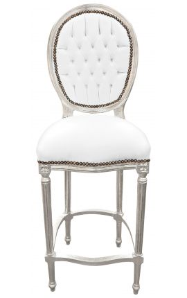 Bar chair Louis XVI style white faux leather and wood silver