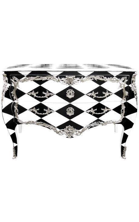 Commode baroque style of louis xv checkerboard black and white - Commode noire baroque ...