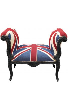 """Baroque Louis XV bench """"Union Jack"""" and black wood"""