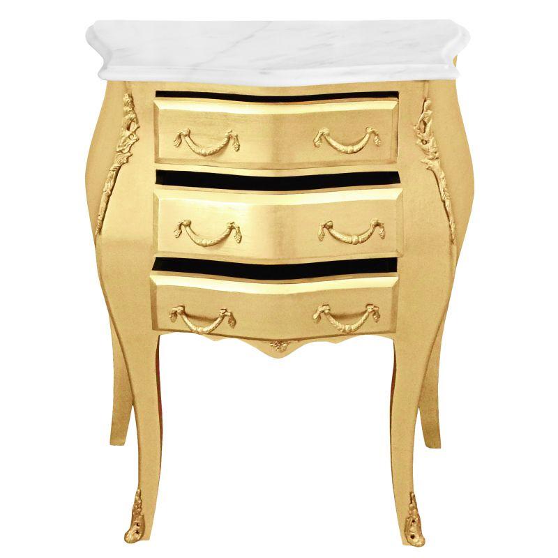 Table de nuit chevet commode baroque bois dor plateau - Table de nuit bois blanc ...