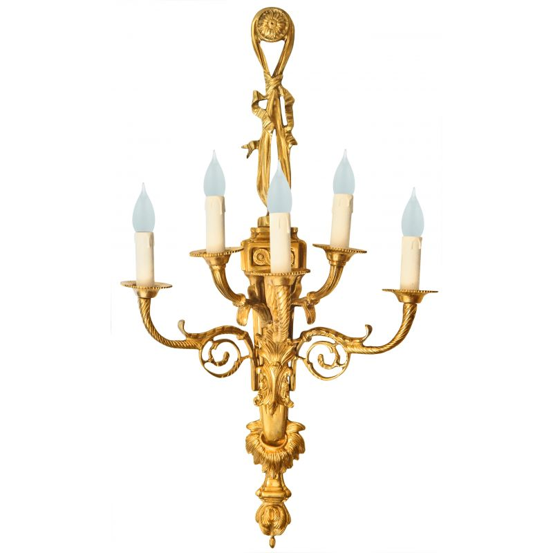Small White Wall Lights : Very large gilt bronze wall light style Napoleon III five sconces