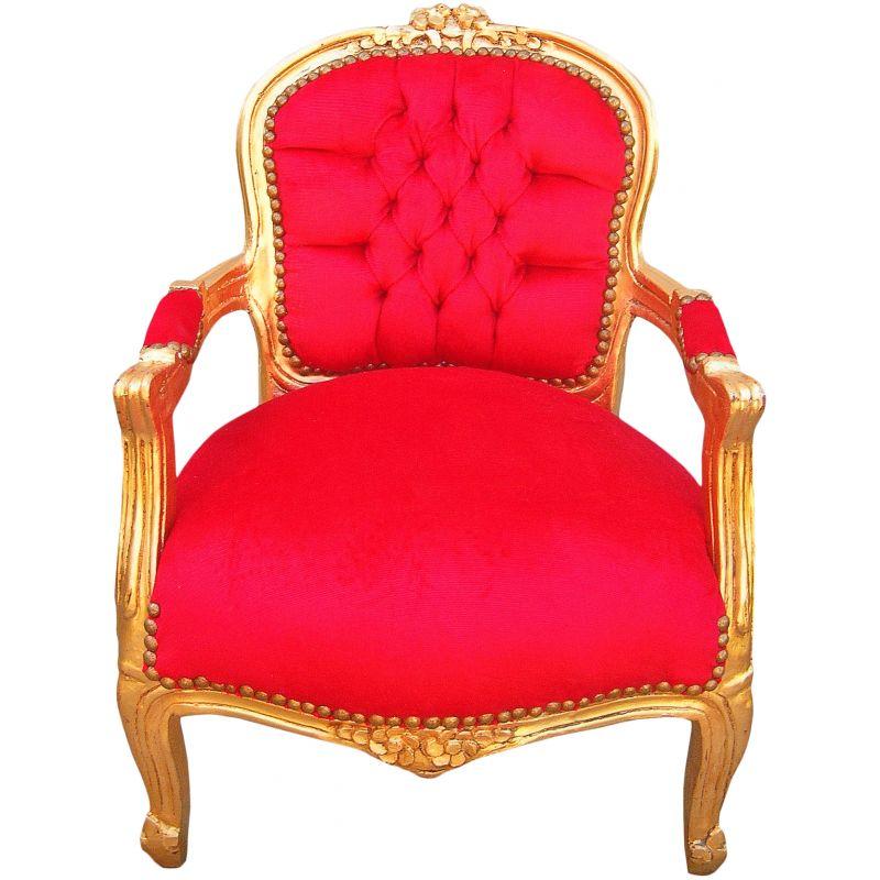 Fauteuil baroque enfant velours rouge et bois dor - Fauteuil velours rouge ...