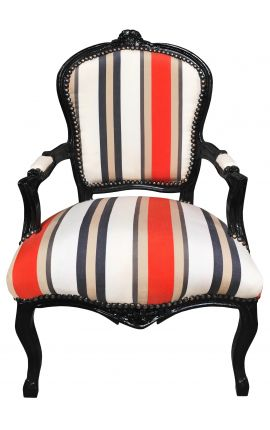 [Limited Edition] Baroque armchair of Louis XV style orange stripes and black wood