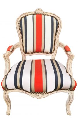 [Limited Edition] Armchair of Louis XV style orange stripes and beige wood patinated