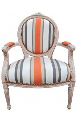 [Limited Edition] Armchair of Louis XVI style orange stripes and beige wood patinated