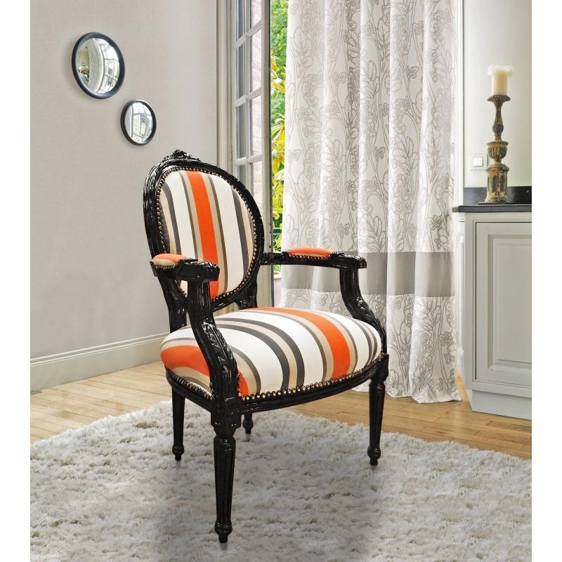 Baroque armchair of louis xvi style orange stripes and black wood