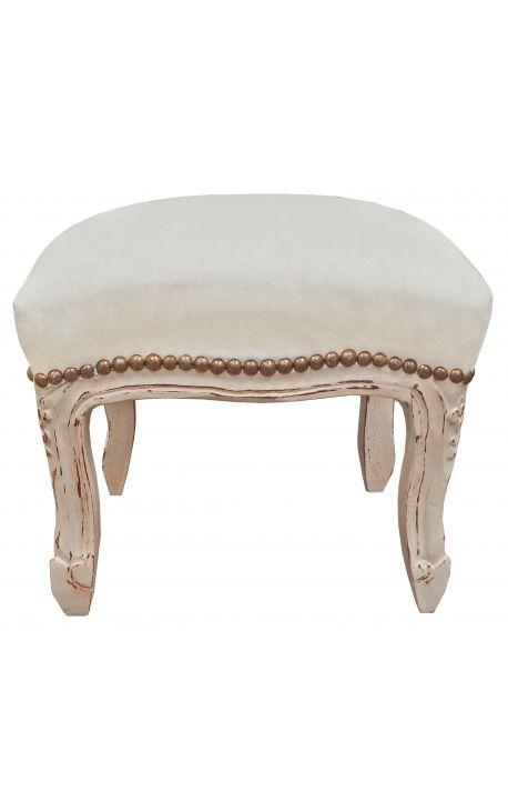 Reposepied baroque de style Louis XV velours beige, bois beige patiné -> Pied Meuble Louis Xv