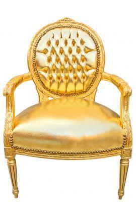 Fauteuil baroque de style Louis XVI simili cuir doré et bois doré