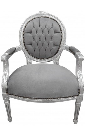 Baroque armchair Louis XVI style grey velvet and silvered wood
