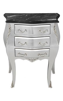 Bedside (nighstand) baroque wooden silver chest with black marble