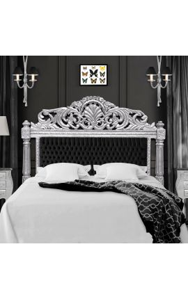 Baroque bed headboard black velvet fabric and silver wood