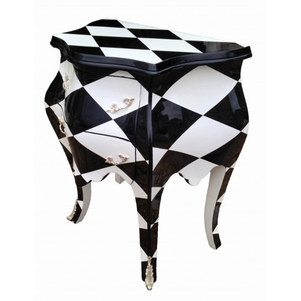 Nightstand bedside baroque commode 2 drawers checkered with silvered bronzes - Grande commode baroque ...