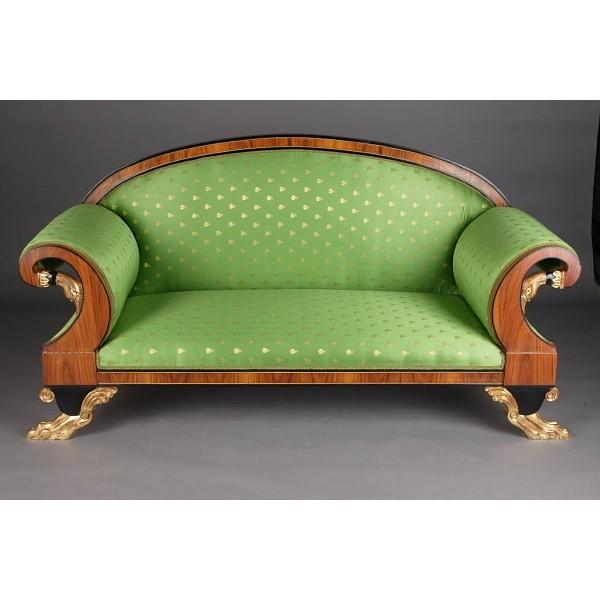 canap de style empire tissus satin vert et bois loupe d 39 orme. Black Bedroom Furniture Sets. Home Design Ideas