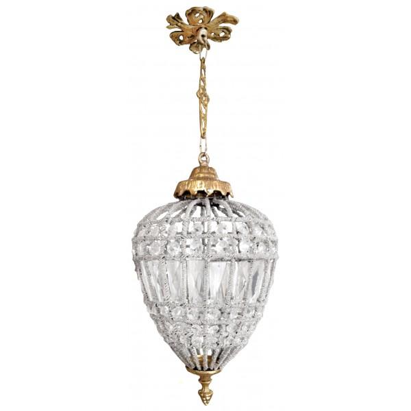 lustre ovale pampilles verre transparente avec bronzes. Black Bedroom Furniture Sets. Home Design Ideas