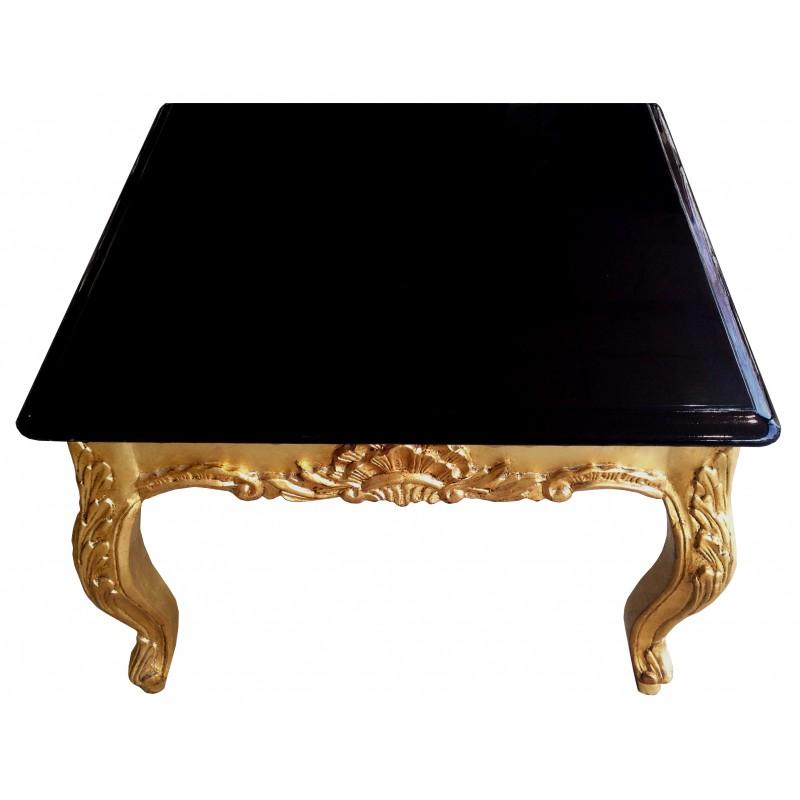 Table basse carrée de style baroque en bois doré avec plateau laqué noir
