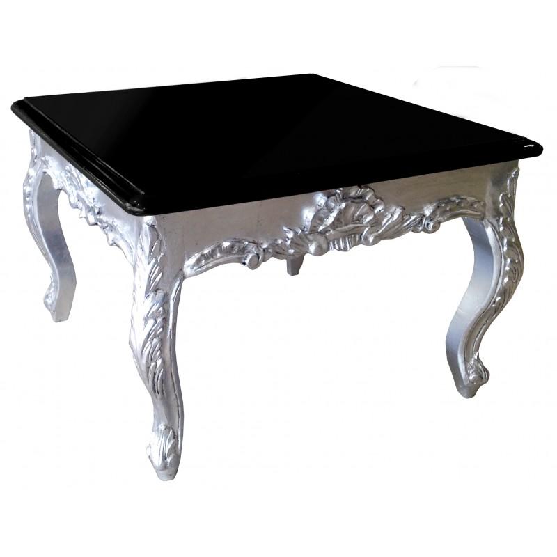 Table basse carr e de style baroque en bois argent avec plateau laqu noir - Table basse carree en bois ...