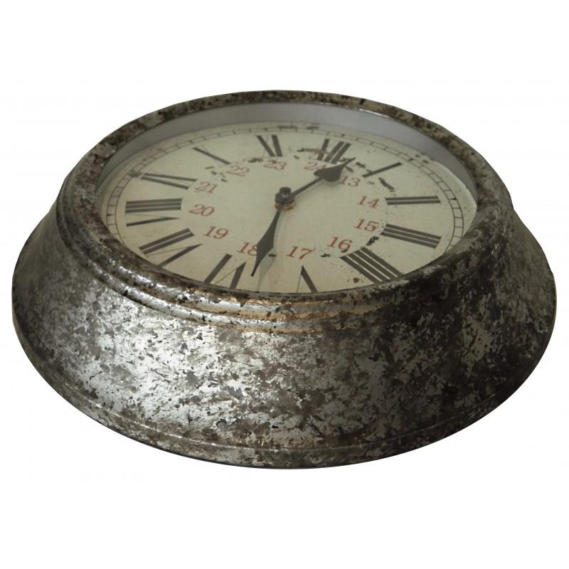 Horloge ronde murale d cors zinc for Deco murale zinc