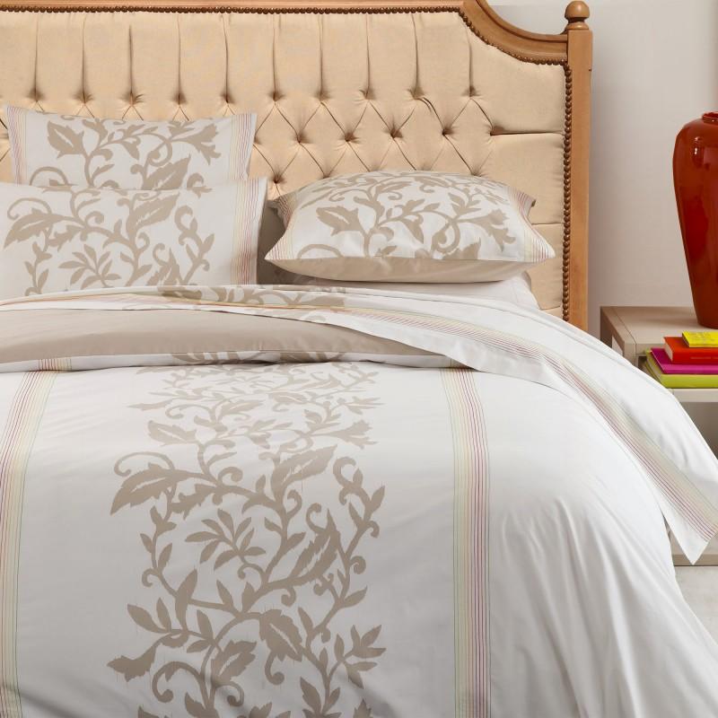 T te de lit de style campagne chic h tre vernis et tissu lin - Tissu style campagne ...