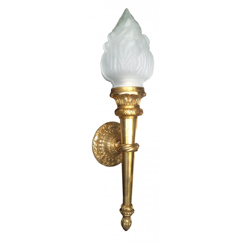 Grande applique murale flambeau en bronze de style empire for Grande applique murale exterieur