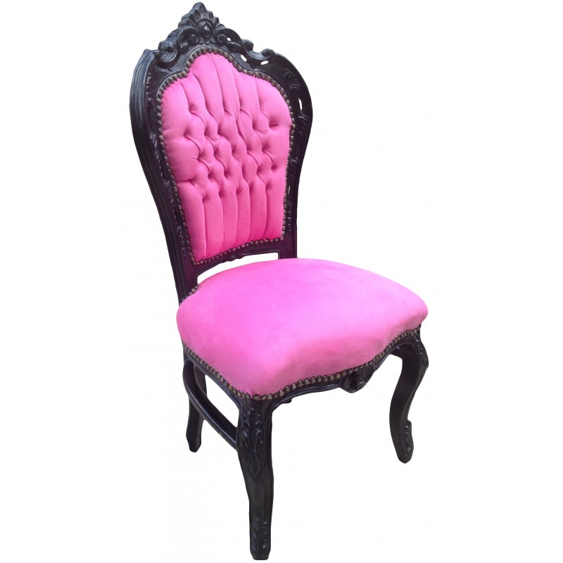 chaise de style baroque rococo tissu velours rose et bois laqu noir. Black Bedroom Furniture Sets. Home Design Ideas